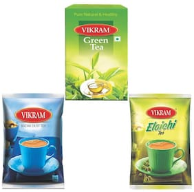 Vikram (Kadak Dust 500g/Green Tea 100g/Elaichi Dust Tea 250g) Combo (Pack of 3)