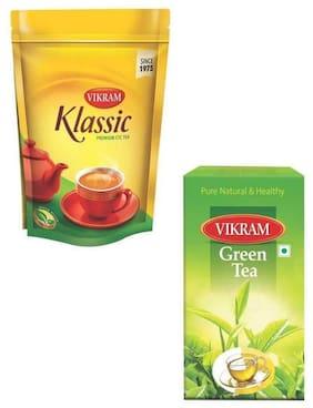 Vikram klassic Tea 1Kg/Green Tea 100g (Pack of 2)