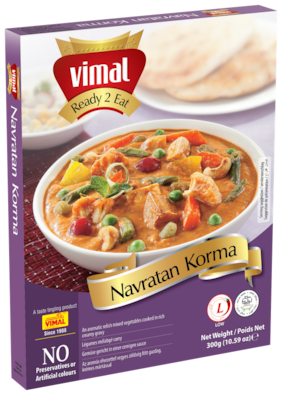 Vimal Ready to Eat Delicious Navratan Korma Instant Mix Panjabi Vegetarian Meal with No Added Preservative and Colours - 300g