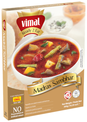Vimal Ready to Eat Madras Sambhar Instant Mix Vegetarian Meal with No Added Preservative and Colours - 300g