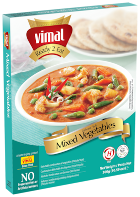 Vimal Ready to Eat Patiyala Style Mix Vegetables Instant Mix Vegetarian Meal with No Added Preservative and Colours - 300g