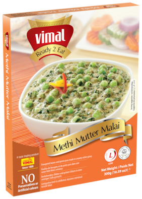 Vimal Ready to Eat Tasty Methi Mutter Malai Instant Mix Vegetarian Meal with No Added Preservative and Colours - 300g