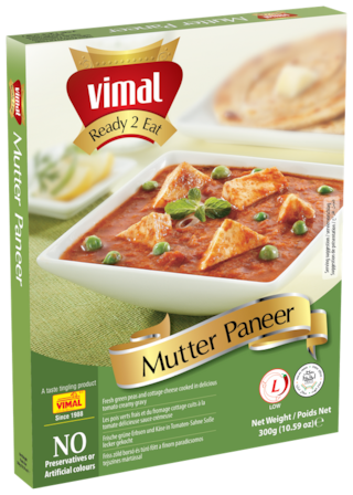 Vimal Ready to Eat Tasty and Spicy Mutter Paneer Instant Mix Vegetarian Meal with No Added Preservative and Colours - 300g