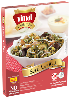Vimal Ready to Eat Sweet and Spicy Surti Undhiu Instant Mix Vegetarian Gujrati Meal with No Added Preservative and Colours - 300g