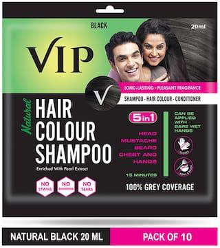 VIP Hair Colour Shampoo Black 20ml (Pack of 10)