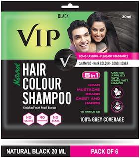 VIP Hair Colour Shampoo Black 20ml (Pack of 6)