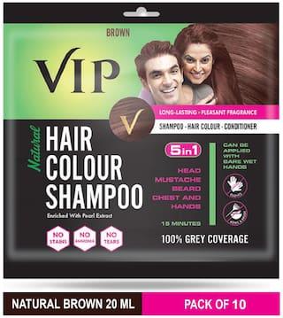 VIP Hair Colour Shampoo Brown 20ml (Pack of 10)