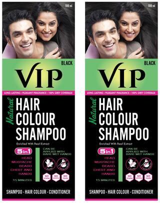 VIP Hair Colour Shampoo Black 180ml (Pack of 2)