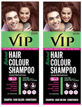 Vip Natural Hair Colour Shampoo 180Ml (Pack Of 2) Brown