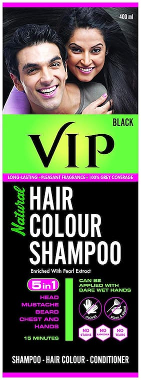 VIP Hair Colour Shampoo, Natural Hair Colour Shampoo Black 400 ml ( Pack of 1 )