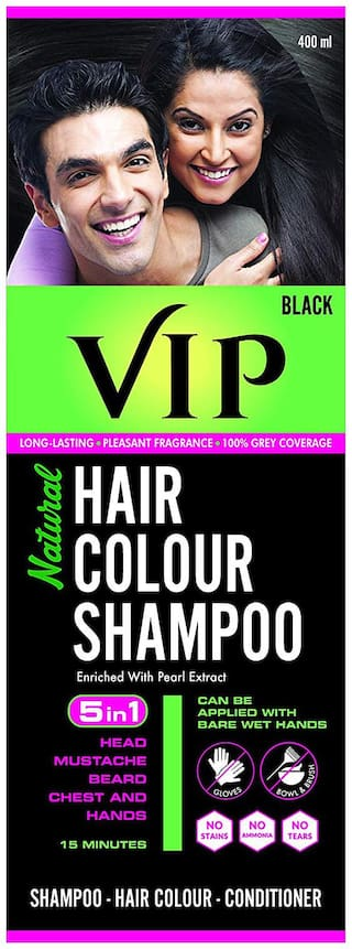 VIP Hair Colour Shampoo, Natural Hair Colour Shampoo Black 400 ml ( Pack of 1 )