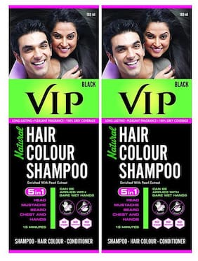 VIP Hair Colour Shampoo, Natural Hair Colour Shampoo Black 180 ml ( Pack of 2 )