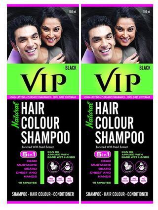 VIP Hair Colour Shampoo, Natural Hair Colour Shampoo Black 180 ml ( Pack of 2 )