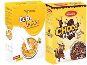 Vitameal Choco Flakes (300gm) Corn Flakes Honey with Real Almonds (400gm) Pack of 2