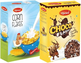 Vitameal Choco Flakes (300gm) And Corn Flakes Plain and Original (300gm) Pack of 2
