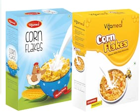 VitaMeal Corn Flakes Honey with Real Almonds (400gm) And Corn Flakes Plain (300gm) Pack of 2