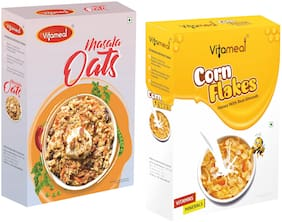 Vitameal Masala Oats 400g;Corn Flakes Honey with Real Almonds 400g (Pack of 2)