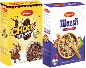 VitaMeal Muesli Fruit and Nuts (400g) And Choco Flakes (300g) Pack of 2