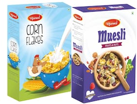 VitaMeal Muesli Fruit and Nuts (400g ) And Corn Flakes Plain (300g) Pack of 2