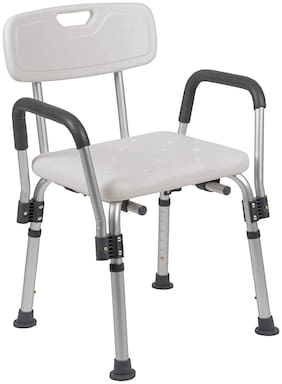VMS Careline 4-in-1 Shower Chair, Light-Weight Aluminum Shower Bench with Back & Detachable Handrest