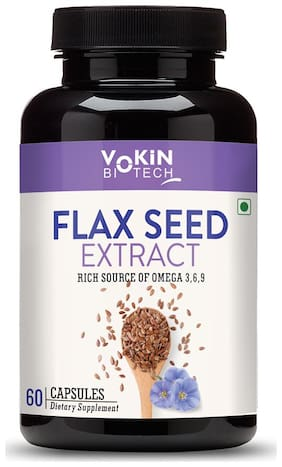 Vokin Biotech Flaxseed Extract | Omega 3 6 9 | 800 mg - 60 Veg Capsules For Vitality & Heart Health