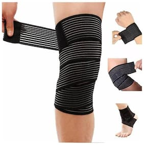 Weight Lifting Knee Wraps Heavy Duty 78 inch Elastic Compression Knee Support Perfect for Squats Powerlifting Olympic Lifting and Crossfit - Pack of 2