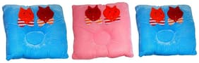 WELO Velvet Color with Cat Sticker Bed/Sleeping Pillow  (Multicolor) Pack Of 3