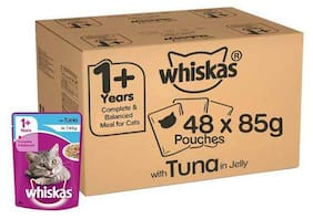 Whiskas Adult Wet Cat Food - Super Saver Pack  1+ Year  Tuna In Jelly 48 Pouches 85 g each