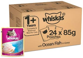 Whiskas Adult (1 Yrs +) Ocean Fish in Gravy, Wet Cat Food, 85 g (Pack of 24)
