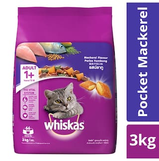 Whiskas Dry Cat Food Mackerel Flavour For Adult Cats (+1 Year) 3 kg