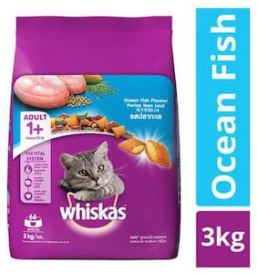 Whiskas Cat Food - Dry  Ocean Fish Flavour  For Adult  +1 Year 3 kg