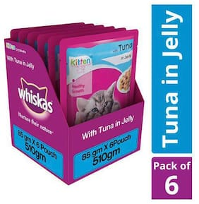 Whiskas Cat Food - Wet, Tuna In Jelly, For Kittens, 2-12 Months 85 gm (Pack of 6)