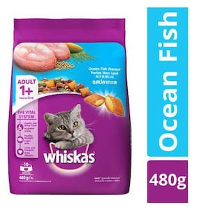Whiskas Dry Cat Food - Ocean Fish Flavour For Adult Cats  +1 Year 480 g