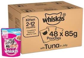 Whiskas Kitten Wet Cat Food - Super Saver Pack 2-12 Months Tuna In Jelly 85 g (Pack Of 48 )