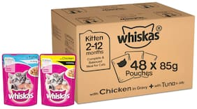 Whiskas Kitten (2-12 months) Wet Cat Food Combo - Tuna in Jelly, 85g Pouches ( Pack of 24 ) And Chicken in Gravy, 85g Pouches ( Pack of 24 )