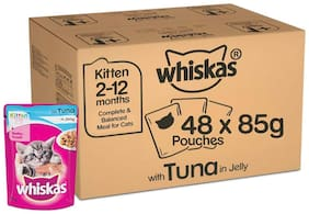 Whiskas Super Saver Pack, Kitten Wet Cat Food (2-12 months), Tuna in Jelly 4.08 kg (85g x 48 Pouches)