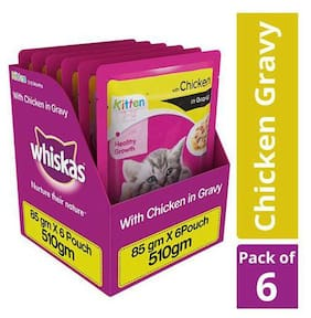 Whiskas Wet cat Food - Chicken in Gravy for Kittens, 2-12 months 85 g (Pack of 6)