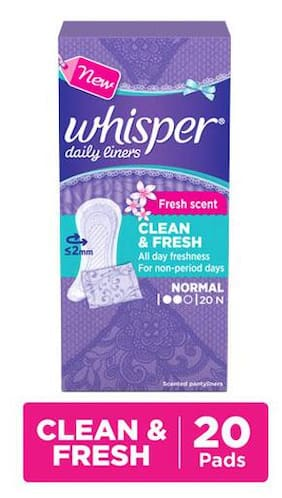 Whisper Daily Liners - Clean & Fresh 20S Pack
