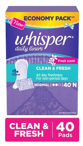 Whisper  Daily Liners - Clean & Fresh 40s Pack