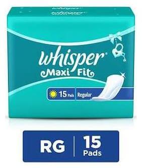 Whisper Maxi Fit Sanitary Pads Regular Wings 15 pc Pack