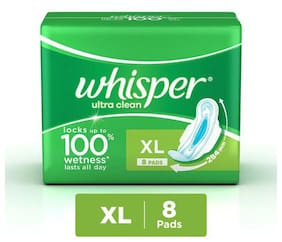 Whisper  Sanitary Pads Extra Large Wings 8 Pads