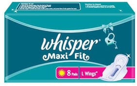 Whisper  Sanitary Pads Maxi Fit L Wings 8 Pads