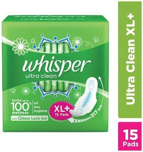 Whisper Sanitary Pads XL Plus Wings Ultra Clean  15 pcs