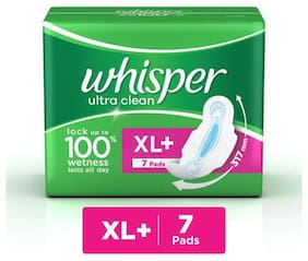 Whisper Sanitary Pads - Ultra Clean Xl Wings 7 Pads