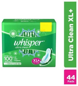 Whisper Sanitary Pads - Ultra Clean Xl+ Wings 44 Pcs