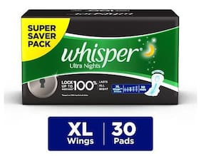 Whisper Sanitary Pads - Ultra Nights XL Wings 30 Pads