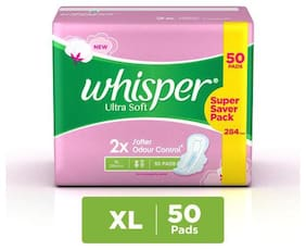 Whisper Sanitary Pads - Ultra Soft  Xl 50 Pads