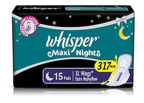 Whisper Sanitary Pads - Maxi Nights Xl Wings Extra Heavy Flow 15 Pads