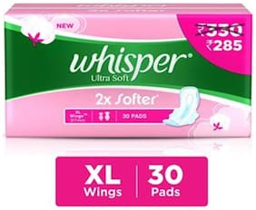 Whisper Ultra Soft XL Sanitary Pads  30 count