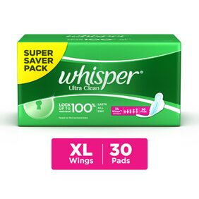 Whisper Ultra Sanitary Pads Extra Large Wings 30 pc Pack